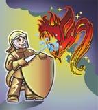 Feuerwehrmann u. Feuer Stockbild