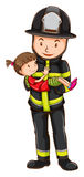 Feuerwehrmann und Mädchen Stockfotos
