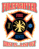 Feuerwehrmann zuerst in der Auslegung Stockbild