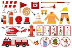Feuerwehrmannelement-Feuerwehr-Notstadtsicherheitsgefahrenausrüstungsfeuerwehrmannschutz-Vektorillustration lizenzfreie abbildung