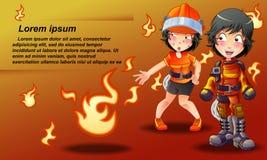 Feuerwehrmannfahne in der Karikaturart lizenzfreie abbildung