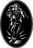 Feuerwehrmannfeuerwehrmannrettungs-Mädchenfeuer Lizenzfreie Stockbilder