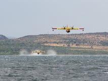Feuerwehrmannflugzeug, Löschflugzeug, Luftbehälter, der Wasser von t nimmt Stockfotos
