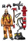 Feuerwehrmanngangsatz Lizenzfreie Stockfotos