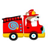 Feuerwehrmannkarikatur mit lustigem Fahrer stock abbildung