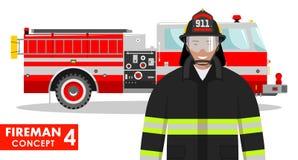 Feuerwehrmannkonzept Ausführliche Illustration des Feuerwehrmanns und des Löschfahrzeugs in der flachen Art auf weißem Hintergrun Lizenzfreie Stockbilder