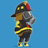 Feuerwehrmannstände Stockfoto