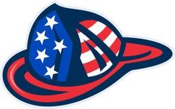 Feuerwehrmannsturzhelm amerikanische Flagge Stockfotografie