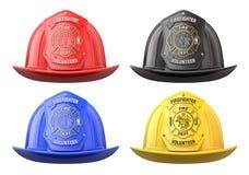 Feuerwehrmannsturzhelme in der Vorderansicht Lizenzfreies Stockfoto