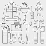 Feuerwehrmannuniform und erster Hilfsausrüstungssatz und -instrumente vektor abbildung