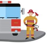 Feuerwehrmannvektor-Ikonensatz stock abbildung
