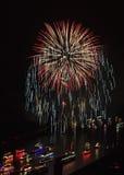 Feuerwerk über dem Rhein-Tal Stockbild