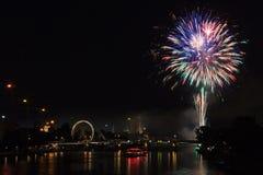 Feuerwerk über Frankfurt am Main Stockbild