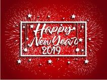 Feuerwerk angezeigt für guten Rutsch ins Neue Jahr 2019 und Feiertagskonzept Stockbilder