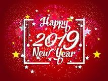 Feuerwerk angezeigt für guten Rutsch ins Neue Jahr 2019 und Feiertagskonzept Lizenzfreies Stockfoto