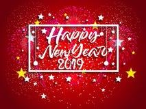 Feuerwerk angezeigt für guten Rutsch ins Neue Jahr 2019 und Feiertagskonzept Lizenzfreie Stockfotos