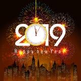 Feuerwerk angezeigt für guten Rutsch ins Neue Jahr 2019 und Feiertagskonzept Lizenzfreie Stockbilder