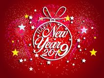 Feuerwerk angezeigt für guten Rutsch ins Neue Jahr 2019 und Feiertagskonzept Stockbild