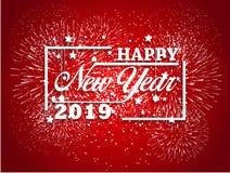 Feuerwerk angezeigt für guten Rutsch ins Neue Jahr 2019 und Feiertagskonzept Stockfotos