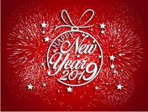 Feuerwerk angezeigt für guten Rutsch ins Neue Jahr 2019 und Feiertagskonzept Stockfoto