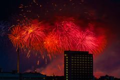 Feuerwerk über Moskau Russland Stockfotos