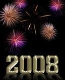 Feuerwerk Bildschirmanzeige und 2008 Vektor Abbildung