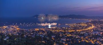 Feuerwerk in Cannes Lizenzfreie Stockfotografie