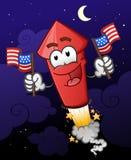 Feuerwerk, das Zeichentrickfilm-Figur der amerikanischen Flaggen hält Lizenzfreies Stockbild