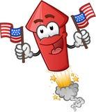 Feuerwerk, das Zeichentrickfilm-Figur der amerikanischen Flaggen hält Stockfotografie