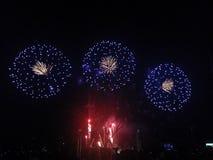 Feuerwerk: drei ist eine Firma Stockfotografie