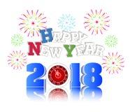 Feuerwerk für guten Rutsch ins Neue Jahr 2018 über der Stadt mit Uhr Lizenzfreies Stockfoto