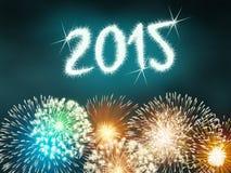 Feuerwerk 2015 guten Rutsch ins Neue Jahr Stockfotografie