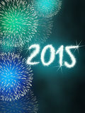 Feuerwerk 2015 guten Rutsch ins Neue Jahr Lizenzfreie Stockfotografie