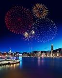 Feuerwerk in Hong Kong stockfotos