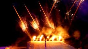 Feuerwerk im Schnee Stockfotografie