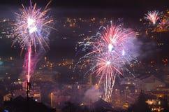 Feuerwerk Innsbruck 4 des neuen Jahres Stockfotos