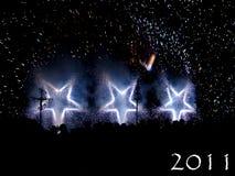 Feuerwerk mit hellen Sternen Stockbild