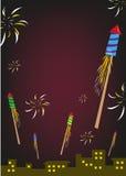 Feuerwerk Rockets Explode in einem nächtlichen Himmel Editable Clipart stock abbildung