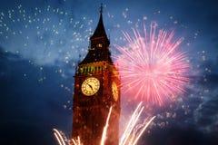 Feuerwerk um Big Ben Lizenzfreies Stockfoto