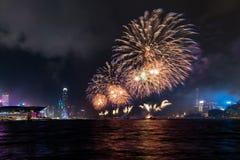 Feuerwerk an Victoria-Hafen lizenzfreie stockbilder