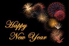 Feuerwerk während eines guten Rutsch ins Neue Jahr Lizenzfreie Stockbilder