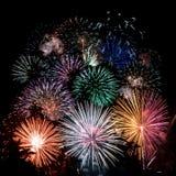 Feuerwerkaufbau Stockbild