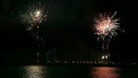 Feuerwerke über dem Meer in Barcelona stock footage