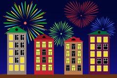 Feuerwerke über der Nachtstadt. Stockfoto