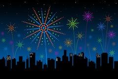 Feuerwerke über der Stadt Stockfotos