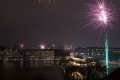 Feuerwerke über Kopenhagen Stockbild
