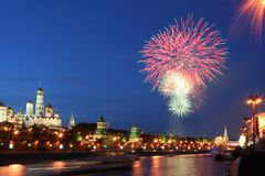 Feuerwerke über Kremlin Lizenzfreie Stockbilder