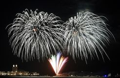 Feuerwerke über Michigansee Stockfotografie
