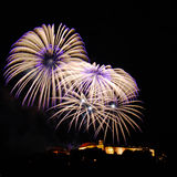 Feuerwerke über Spilberk-Schloss II Stockfotografie