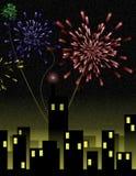 Feuerwerke über Stadt Lizenzfreies Stockfoto